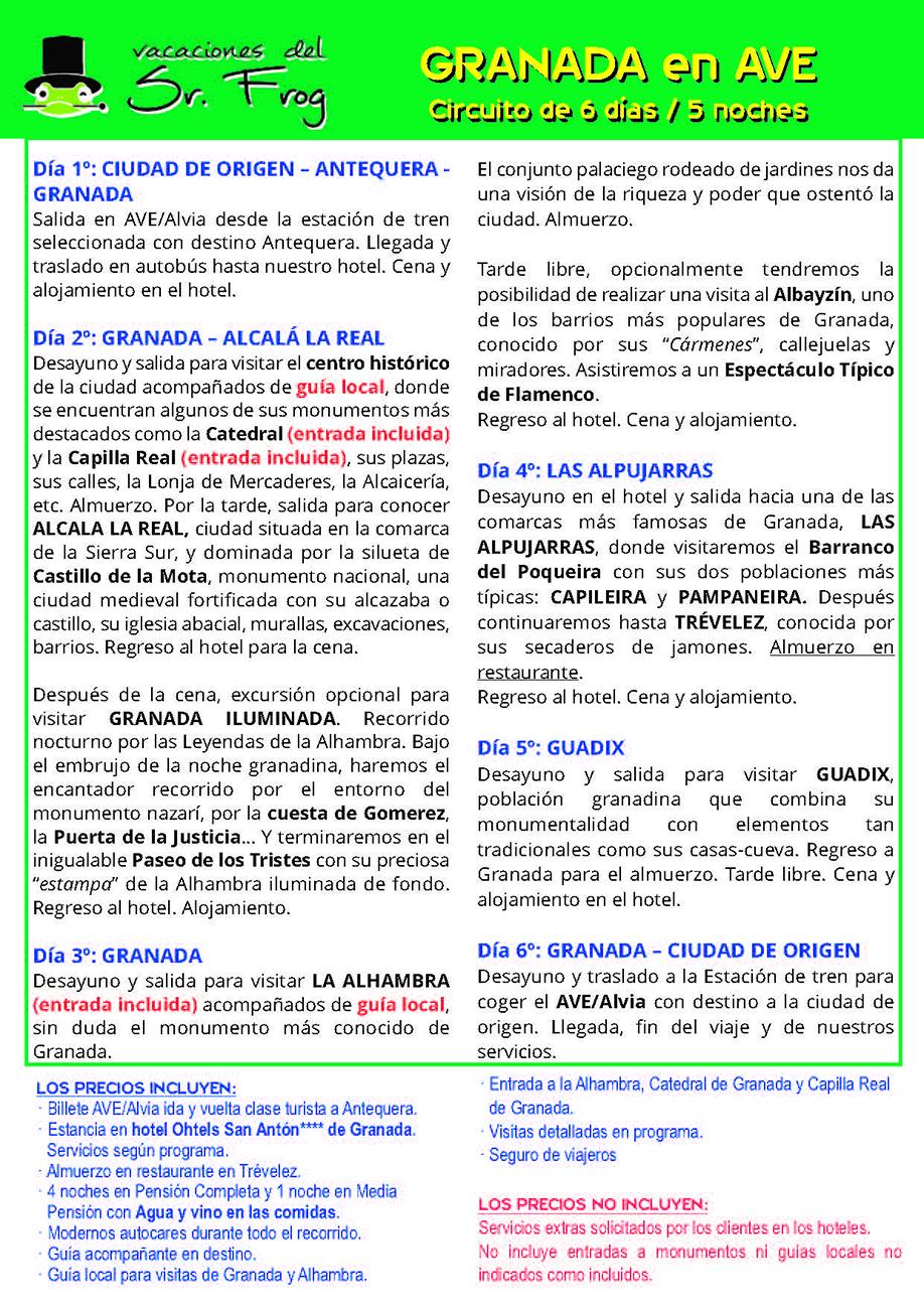 Itinerario GRANADA AVE VERANO