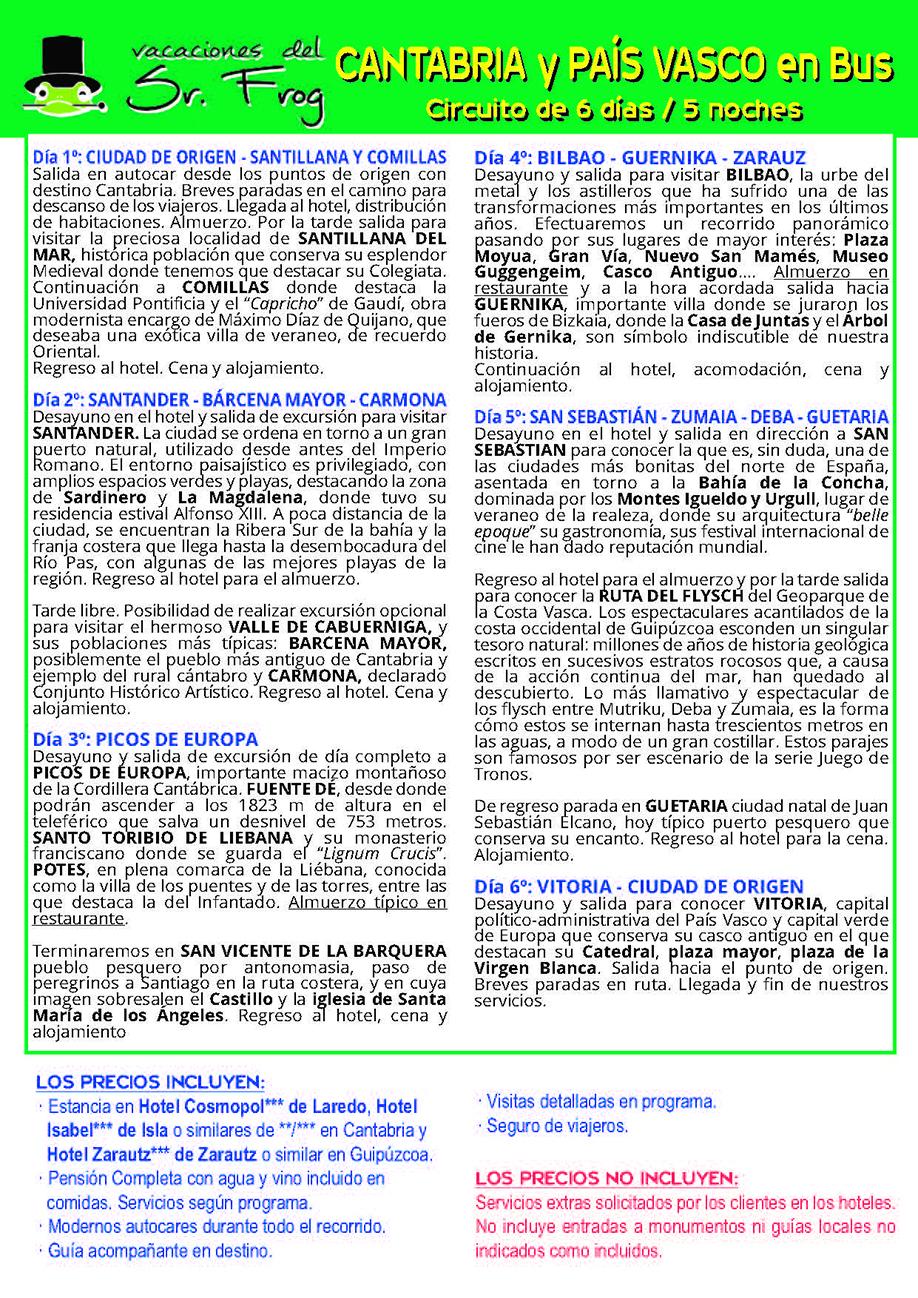 Itinerario CANTABRIA Y PAIS VASCO BUS