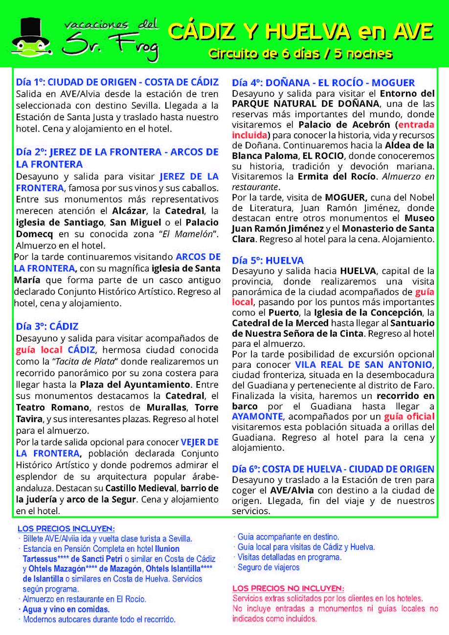 Itinerario CADIZ Y HUELVA AVE 6 DIAS