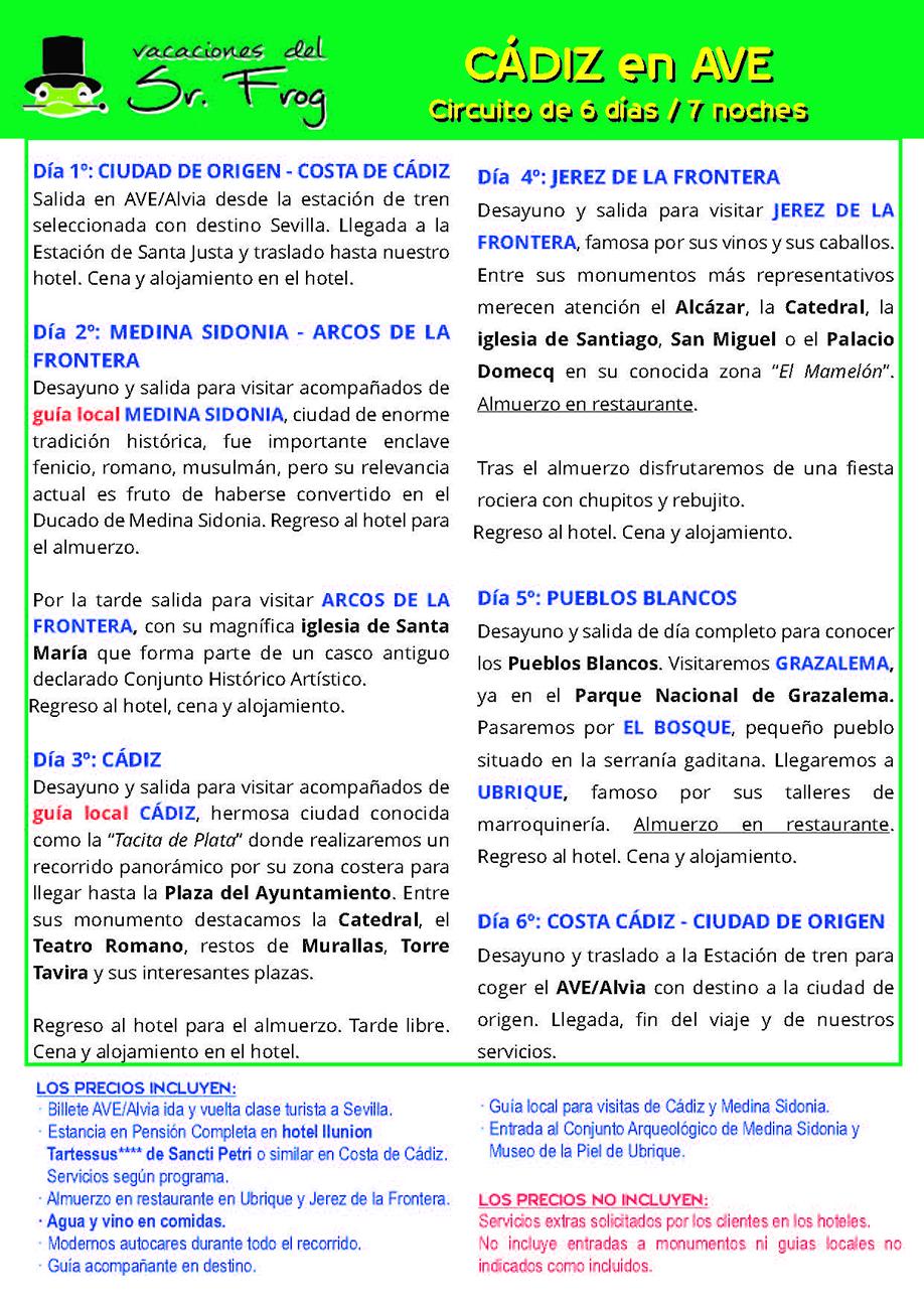 Itinerario CADIZ AVE 6 DIAS